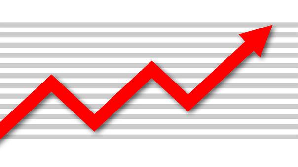 チャート, 繁栄, 曲線, 上方, 利益, 経済, 金融, 雇用, 赤, 白