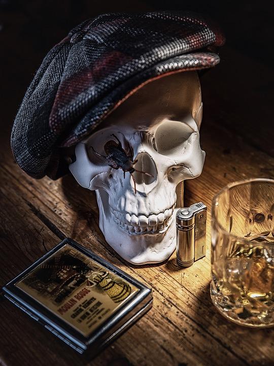 Still Life, Skull, Whiskey, Glass, Cigarette Case, Cap