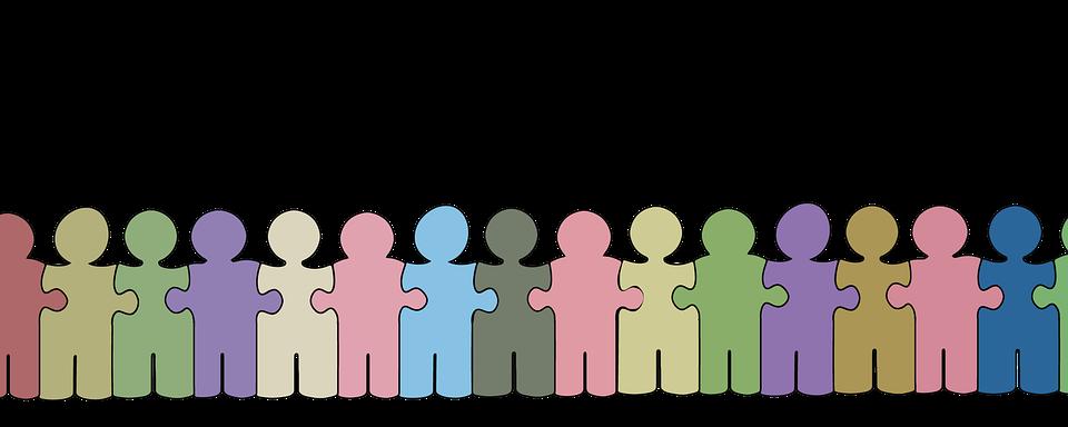 Personen, Gruppe, Puzzle, Reihe, Kette, Menschenkette