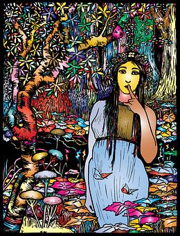 Girl, Jungle, Line Art, Landscape