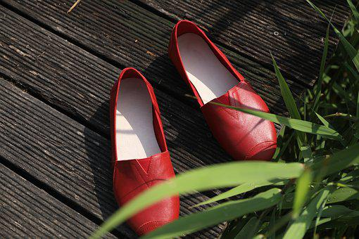 red pair of shoes beside a plant