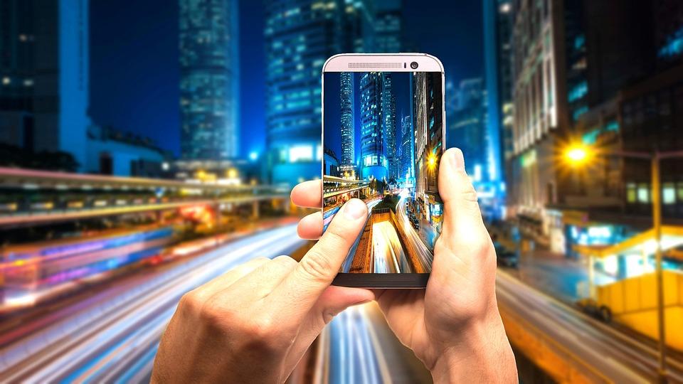 Smartphone, Prendendo, Foto, Paesaggio Urbano, Città