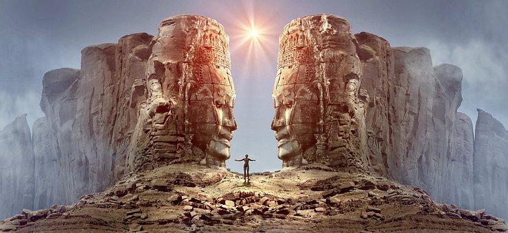 Fantasy, Rock, Face, Stone, Light