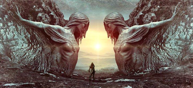Fantasy, Portal, Man, Statue, Rock