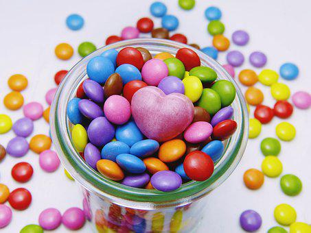 Smarties, Glass, Heart, Candy, Sweetness,Heart, Chocolates, Gift, Packaging,124 Free images of Chocolate Day Related Images: Chocolate Love Heart Valentine's Day Candy Hot Chocolate Romantic Romance Valentine Sweet