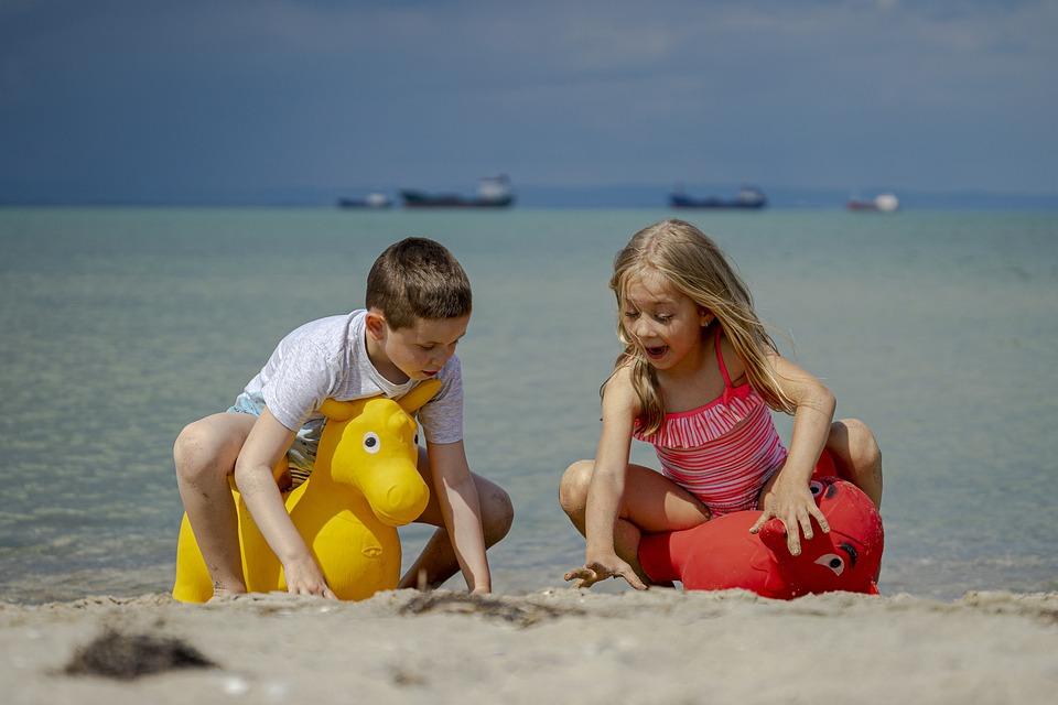 Children, Beach, June, Sea, Water, Fun, Girl, Happy