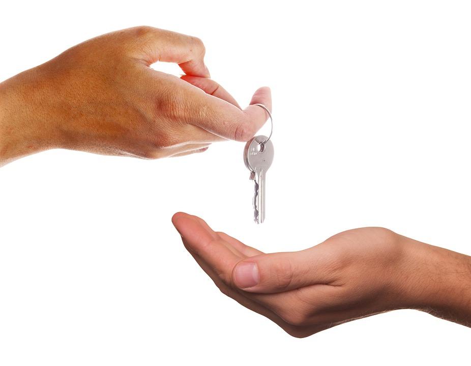 与える, キー, 受信, 手, 不動産, 家賃, 販売, 購入, プロパティ, 家主, トランザクション