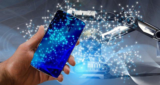 技術, スマート フォン, 業界, 産業4, ウェブ, ネットワーク, 情報技術