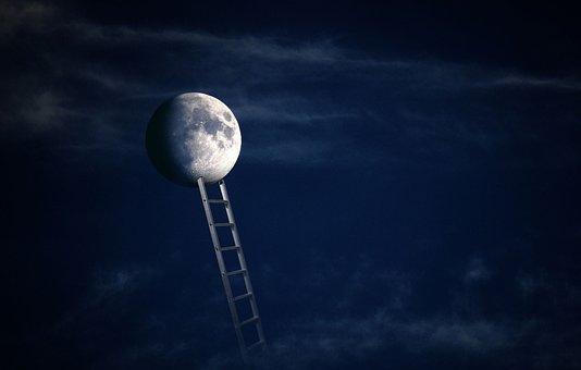 Moon, Reach, Dream, Fantasy, Ladder