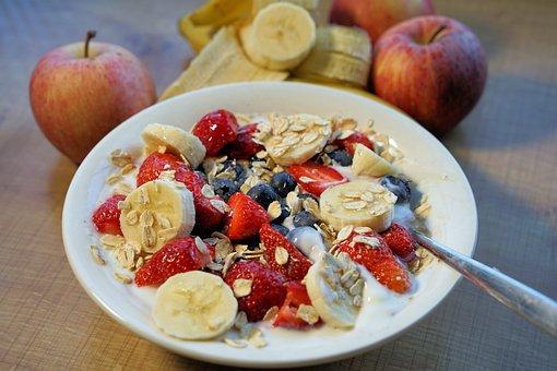 ミューズリー, 朝食, 果物, イチゴ, バナナ, アップル, ヨーグルト