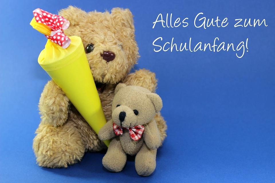 Schulanfang, Einschulung, Schultüte, Rot, Teddy, Schule