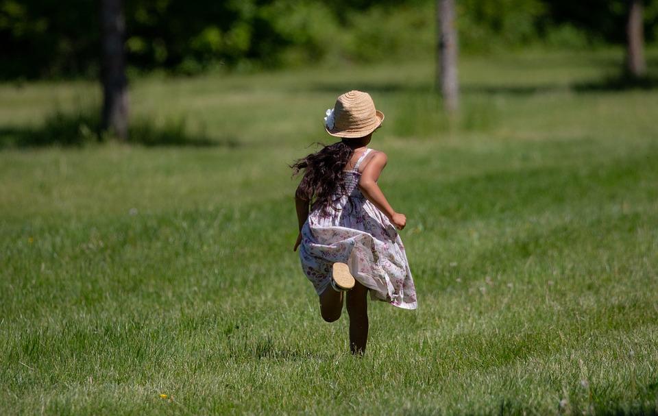 Child, Vintage Dress, Country Dress, Running, Grass