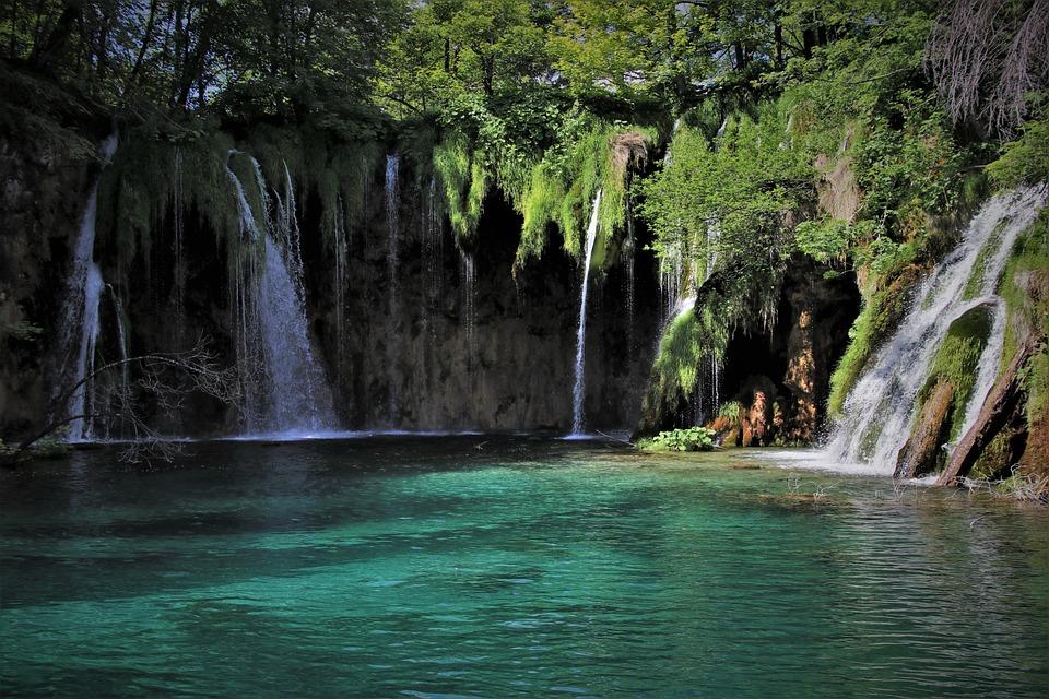 緑水, 楽園, 滝, ストリーム, 朝, カスケード, プリトヴィチェ湖群, クロアチア, と, ステージ