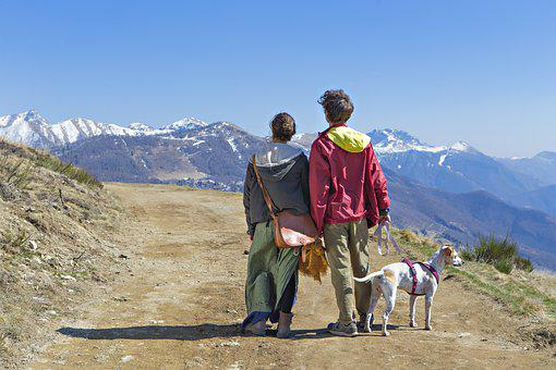 Couple, Guy, Girl, Dog, Mountain