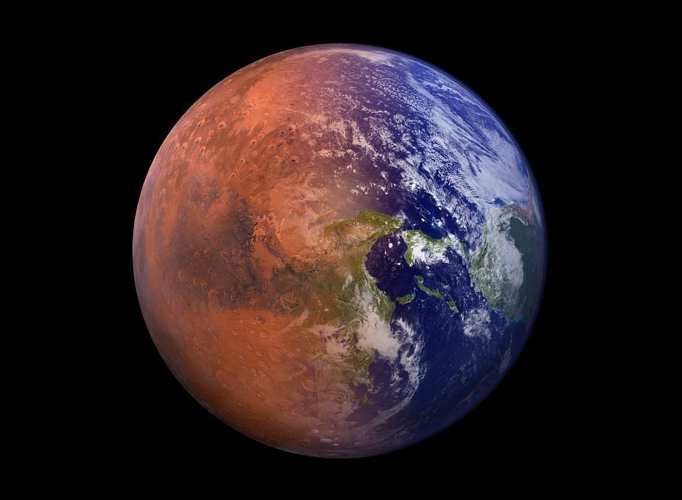 Projection de la planète mars en cours de terraformation