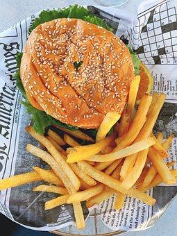 Hamburger, Jetons, Croustilles, Ameri