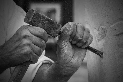 作業, 手, 彫刻家, Stonemason