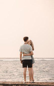 Couple, Summer, Beach, Kiss, Love