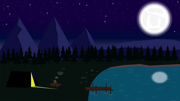 キャンプ, 月, 泊, 自然, 風景, 空, 暗い, 星, テント, 森林