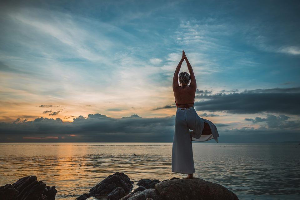 Yoga, Posa Di Yoga, Asana, Tramonto, Donna, Meditazione