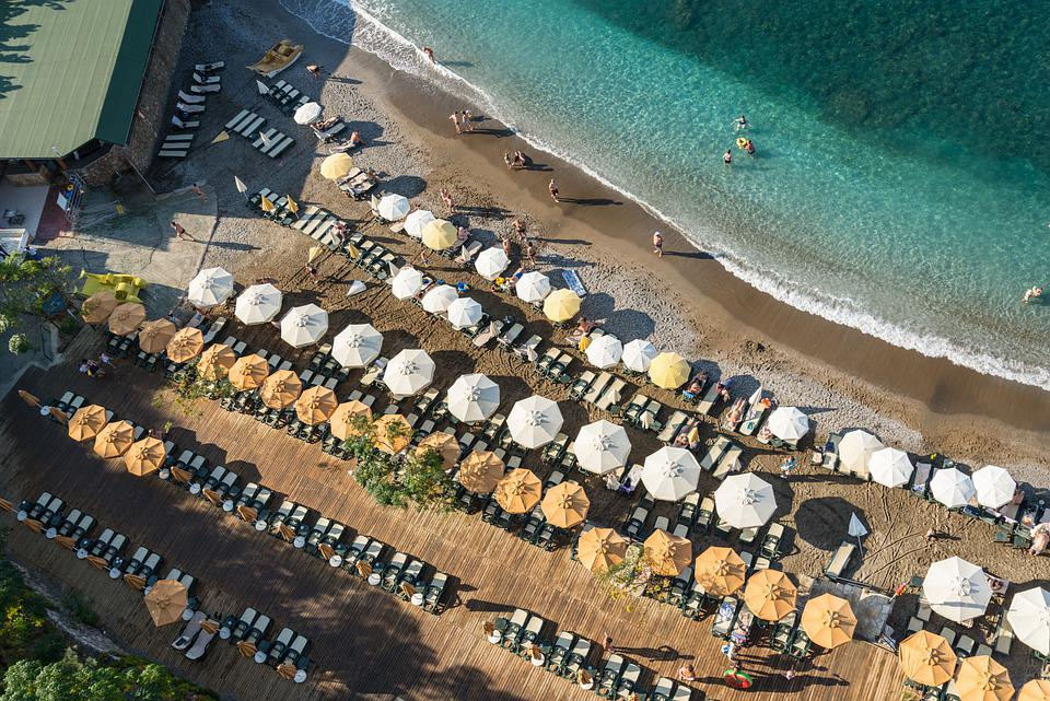 Турция, Алания, Пляж, Зонты, Строки, Песок, Море
