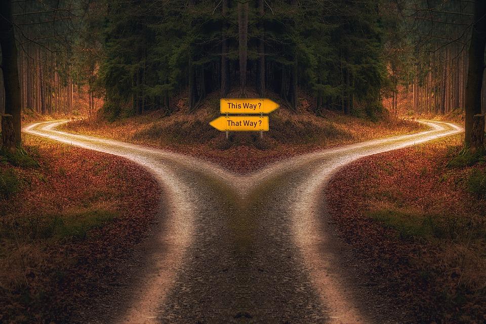 決断, 道, 道標, 交差点, チャンス, 選択, 方向, チャレンジ, ソリューション, 別, 将来, 戦略