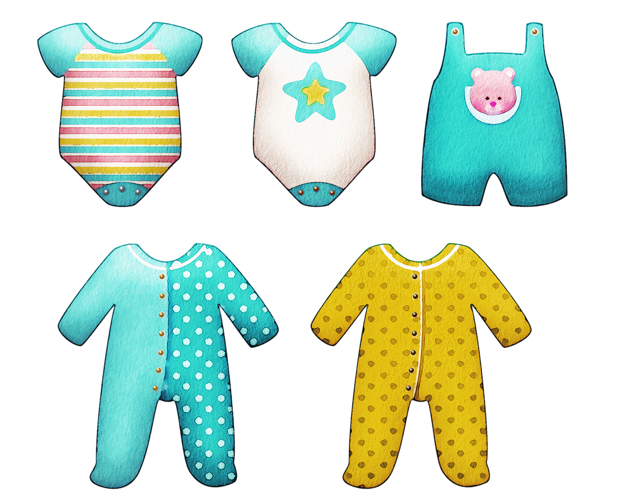 Watercolor Baby Clothes - Free image on Pixabay