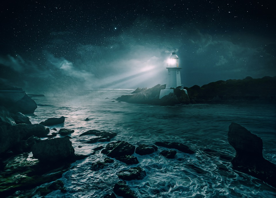 Lighthouse, Night, Stars, Clouds, Glow, Rays, Sea