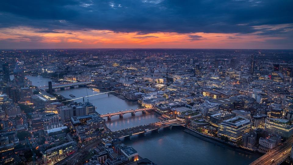Лондон, Залез, Англия, Архитектура, Град, Мост, Здрач
