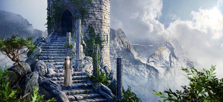 Fantasy, Mountains, Man, Old, Stairs