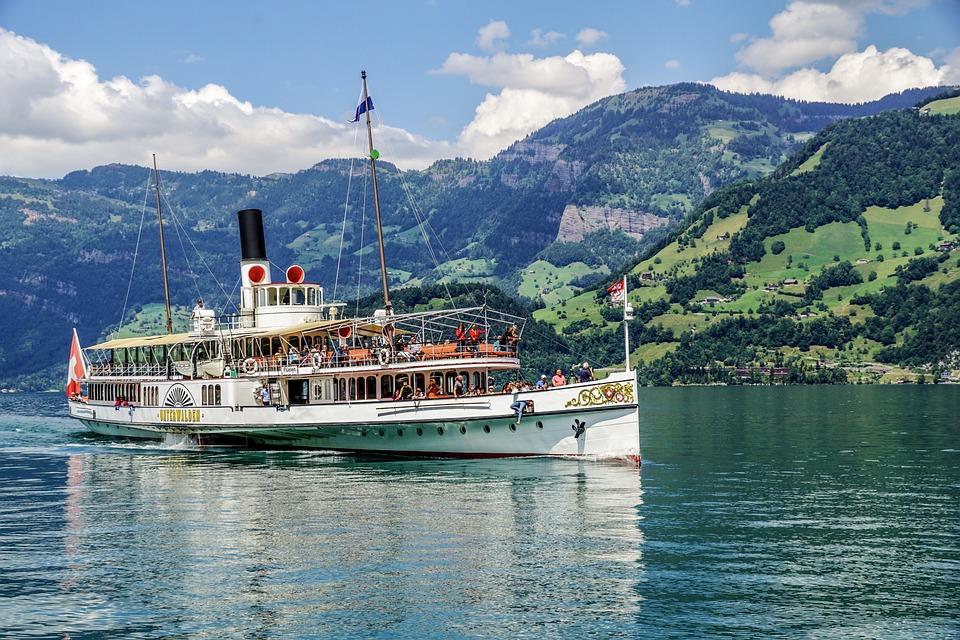 蒸気船, ルツェルン湖地域, パドル汽船, スイス, 水, 湖, 汽船, 船, 煙突, 山, 歴史的に, 出荷