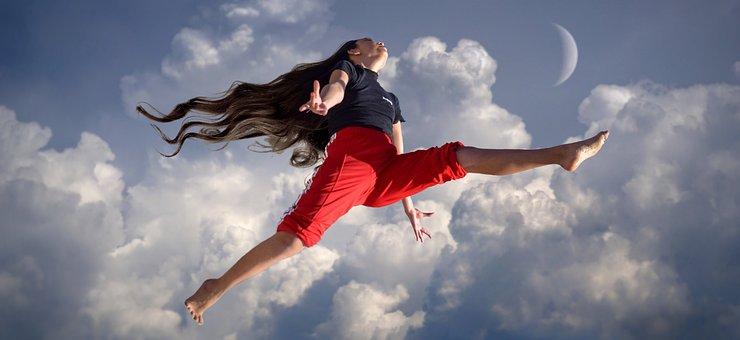 Girl, Jump, Clouds, Joy, Sky, Fun, Sport
