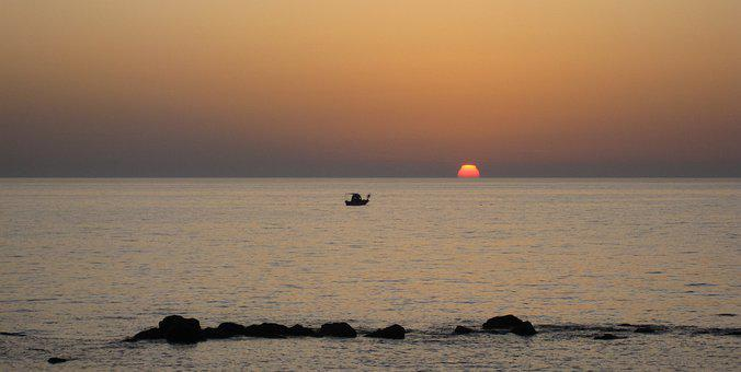 Sea, Sunset, Sky, Twilight