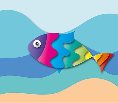 Fisch, Meer, Sommer, Bunt Regenbogen