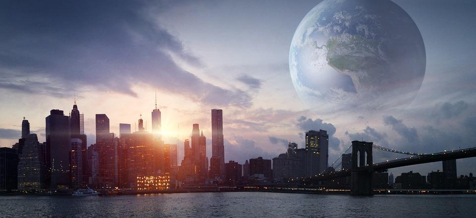 市, 惑星, 未来, 地球, 建物, 空, 世界, フォワード, 宇宙, ファンタジー, 太陽