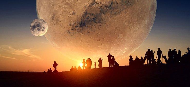 Planet, Moon, Human, Sky, Night, Fantasy