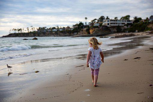 Child, Girl, Sand, Pacific, Beach, Sea
