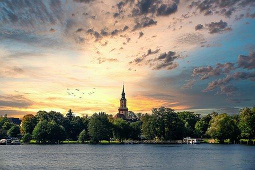Stadtsee, Templin, Kirche, Sommer