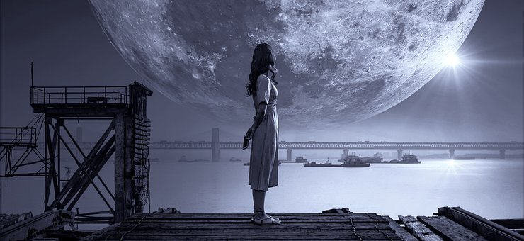 Fantasy, Moon, Girl, Night, Bank, Light