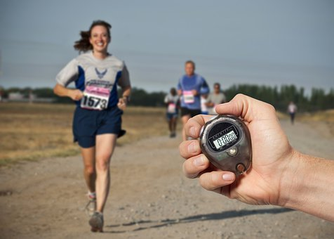 レース, ランナー, 実行している, 時間, クロノメーター, 競争, マラソン