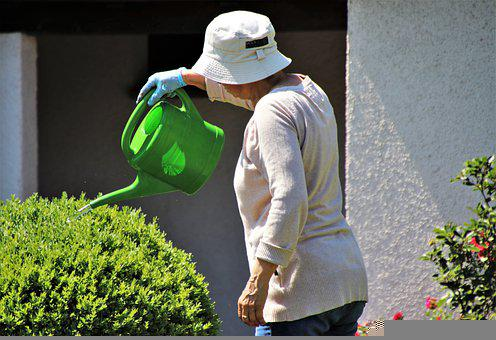 帽子, 水まき缶, 高齢受給者, 園芸, 夏, 庭, 鋳造, 工場