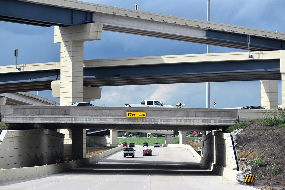 車、高速道路、交通、旅行、ランプ、オフランプ、ディバイダー