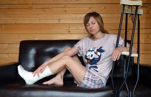 Foot Fracture, Girl, Couch, Crutches