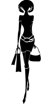 Dívka Silueta, Nákupní, Kabelka, Pes