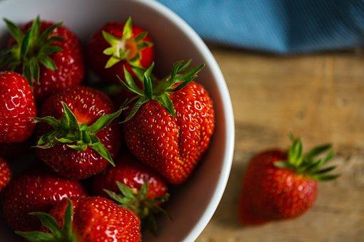 Strawberries, Shell, Wood, Towel, Fruit