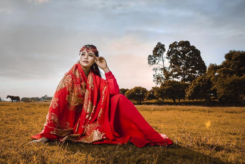 女性, 衣装, 国家, ベトナム, ベトナム語, ハノイ, 古代の衣装, アジア, 風景, 外, 草, 赤