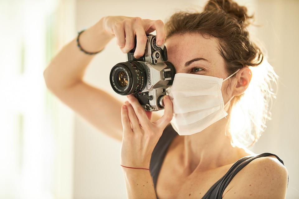 Fotograf, Coronavirus, Maske, Retro, Quarantäne
