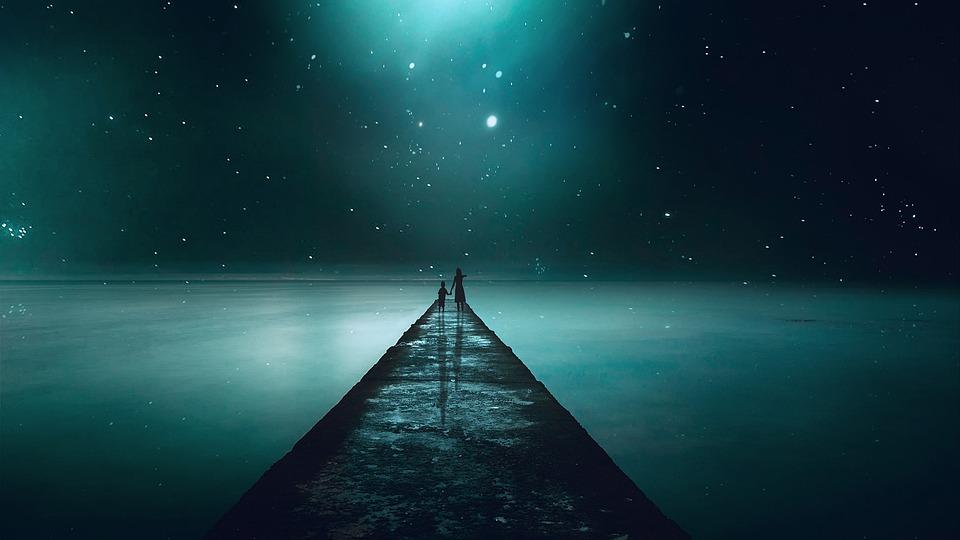 Landscape, Fantasy, Night, Sky, Star, Lake, Reflection