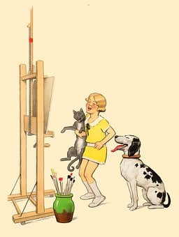 Painting, Easel, Homeschooling, Cat, Dog
