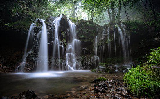 Landscape, A Small Waterfall, Natural